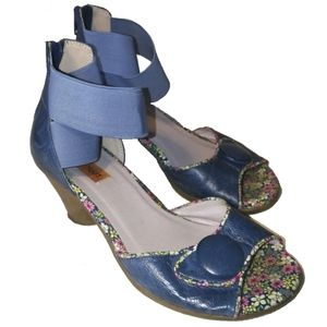 Miz Mooz Blue Retro Leather Heel Sandal, size 6,5